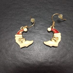Gold tone Santa earrings